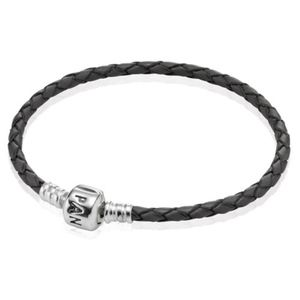 PANDORA Retired Single Leather Bracelet Black 7.1""